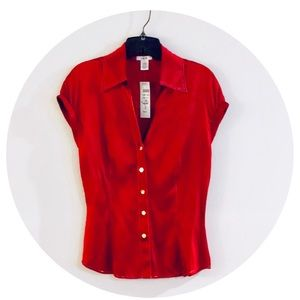 NWT Cache Silk Cranberry Top S